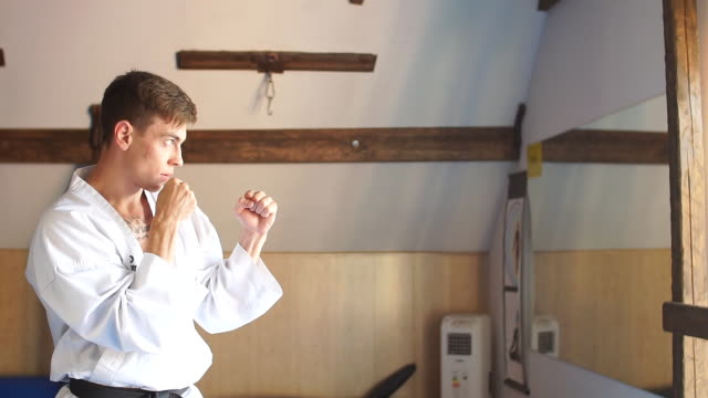 Man training karate in gym