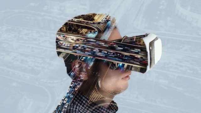 T/L Man trying virtual reality simulator glasses