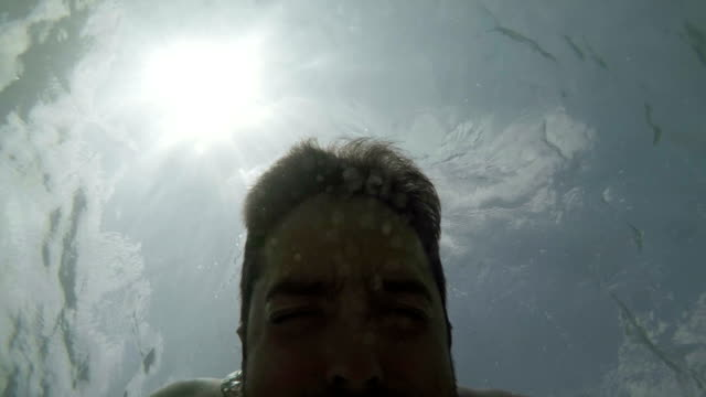Man underwater. Slow motion video