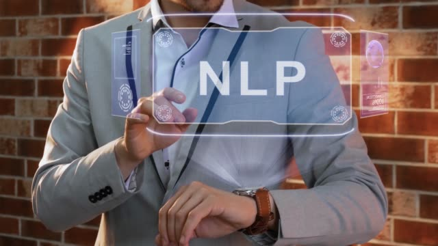 Man uses smartwatch hologram NLP