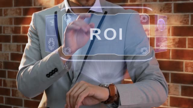 Man uses smartwatch hologram ROI