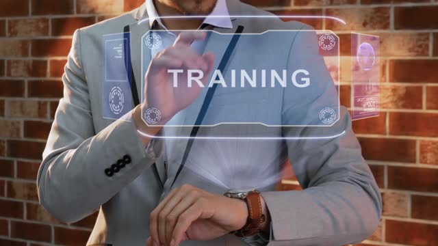 Man uses smartwatch hologram Training