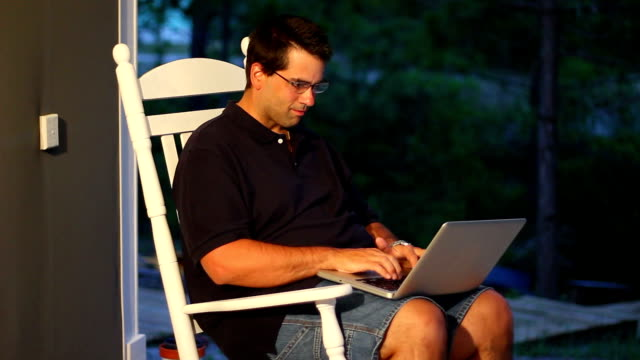 Man Using Laptop Outside video