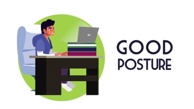 uomo che utilizza laptop lavoro a casa campagna animazione - posizione corretta video stock e b–roll
