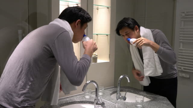 Man using Nasal Irrigation at home to prevent his chronic illness video