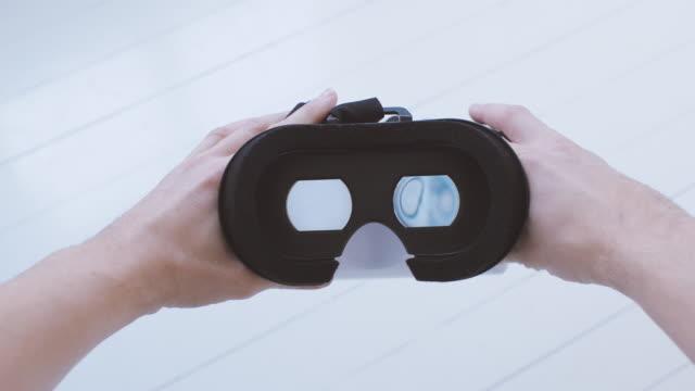 Man using Virtual Reality Glasses POV video