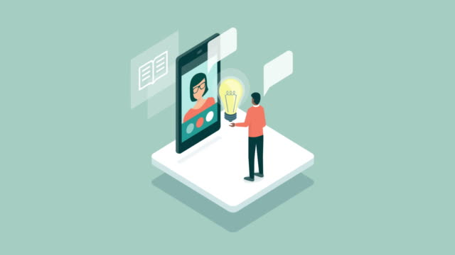 Man videocalling a teacher online