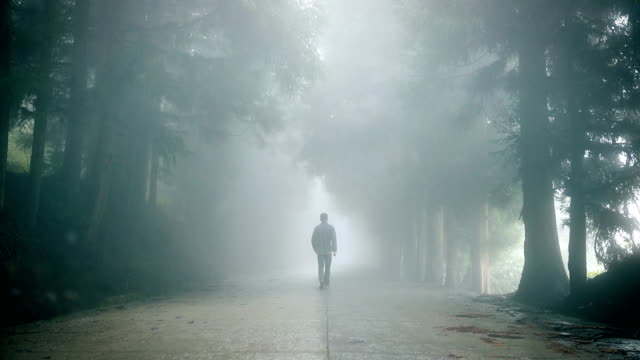 Man walking alone on foggy road