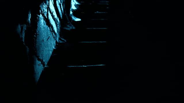 Man walking downstairs in moonlight