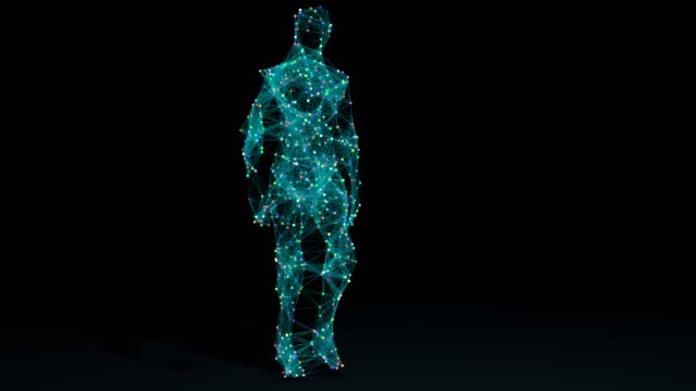 man walking in wireframe drawing with data - modalità wire frame video stock e b–roll