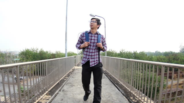 4K : Man walking on corridor video