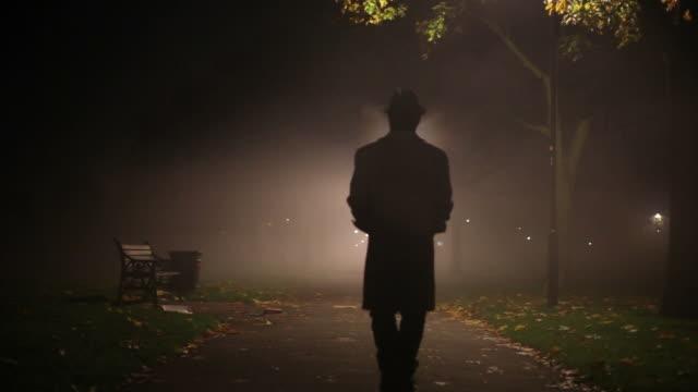 vidéos et rushes de homme marchant dans la brume dans le parc - mystère