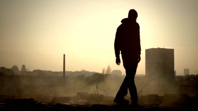 Man Walking Toward roof Edge Apocalypse Dark Lonely Mood video