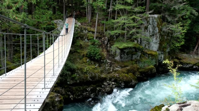 Man walks across a suspension bridge A man enjoys walking in nature. Large suspension bridge hanging over the river. suspension bridge stock videos & royalty-free footage