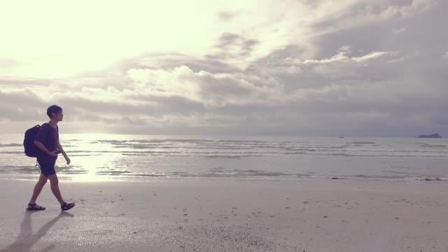 Man walks along beach near surf edge, sunrise video
