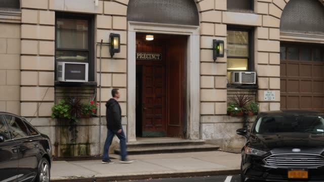 Man Walks Past Entrance to Manhattan Police Station video