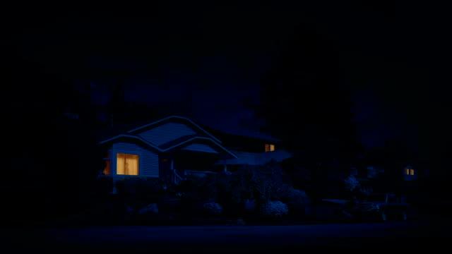 Man Walks Past Window Of Lit Up House In Suburbs