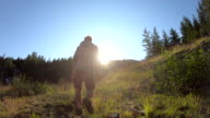istock Man walks through mountain meadow at sunrise 1164001528
