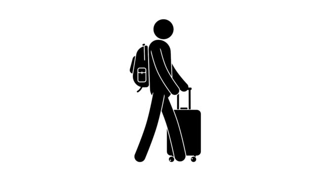 man walks with travel suitcase on four wheels and  backpack behind his back. - people icon video stock e b–roll