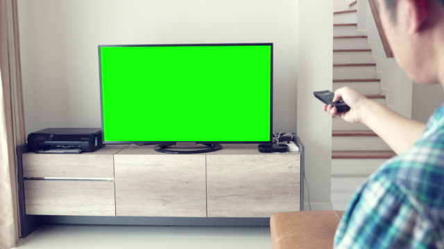 Man Watches Television green screen video