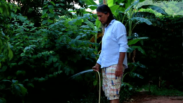 Homme arroser le jardin - Vidéo