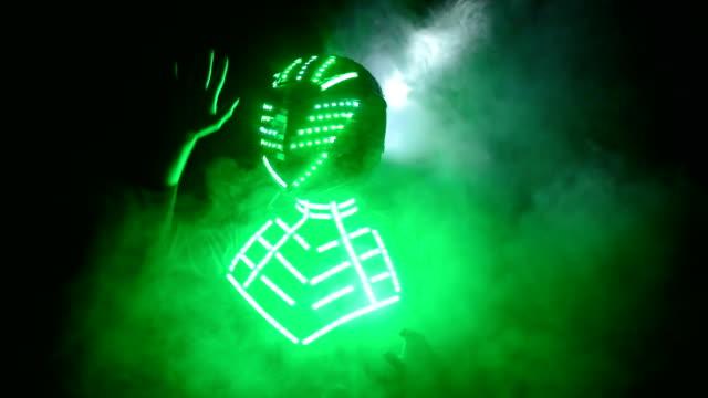 Man wearing led helmet performing on stage video