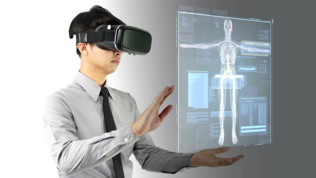 A man wearing Virtual reality headset for diagnose. video