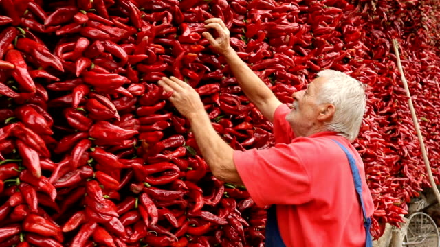 Man with a peppers string