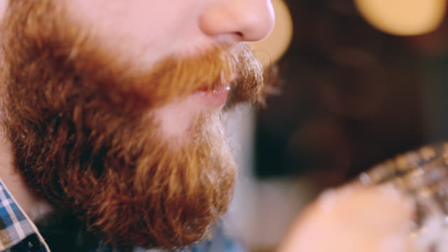 ecu man with beard drinking a beer - baffo peluria del viso video stock e b–roll