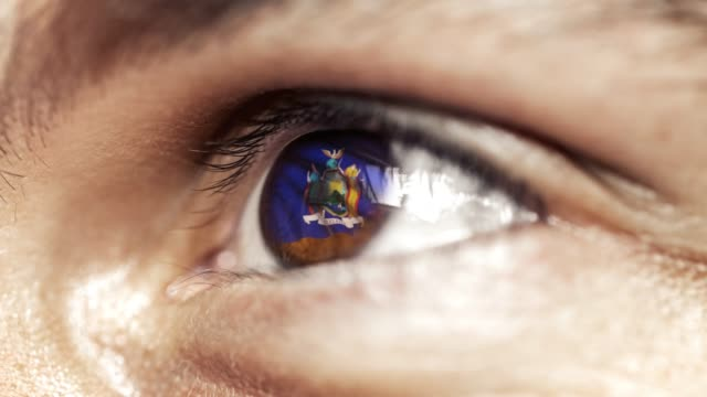 Man with brown eye in close up, the flag of New York state in iris, united states of america with wind motion. video concept