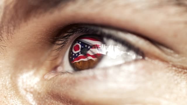 Man with brown eye in close up, the flag of Ohio state in iris, united states of america with wind motion. video concept