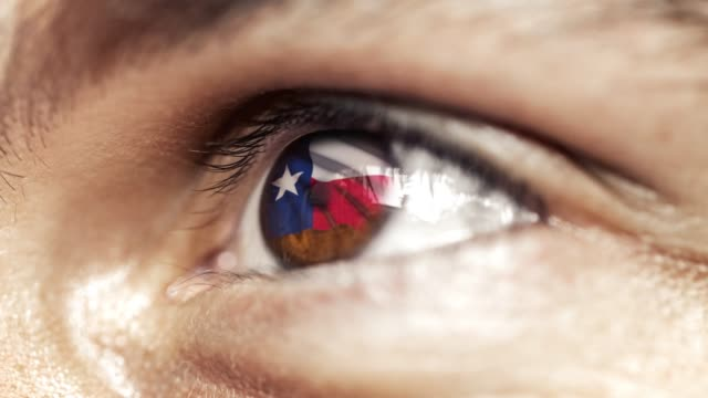 Man with brown eye in close up, the flag of Texas state in iris, united states of america with wind motion. video concept
