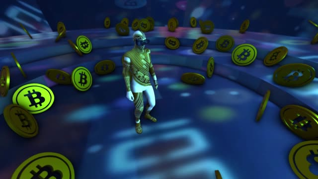 Man with Cryptocurrency 3d glasses hologram concept bitcoins
