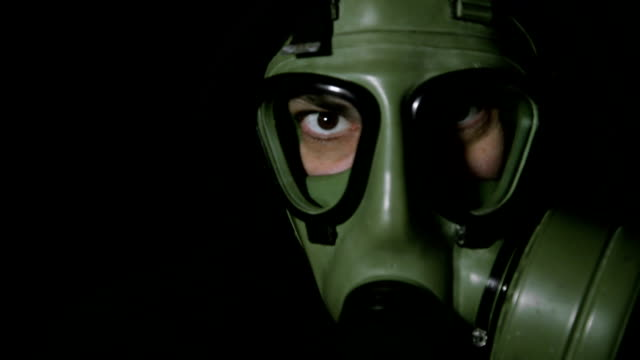 Man with gas mask. video