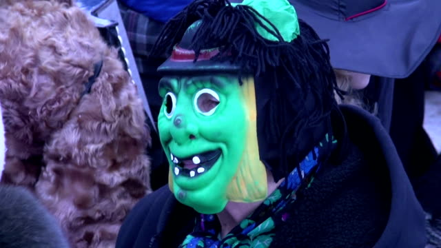 man with green Shrovetide mask video