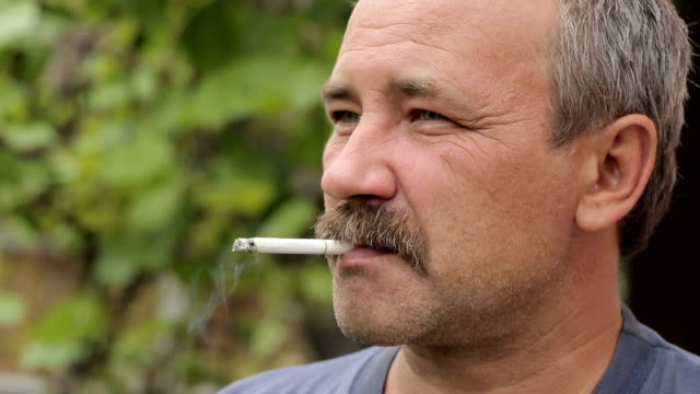Man with Mustache Smoking 2 video