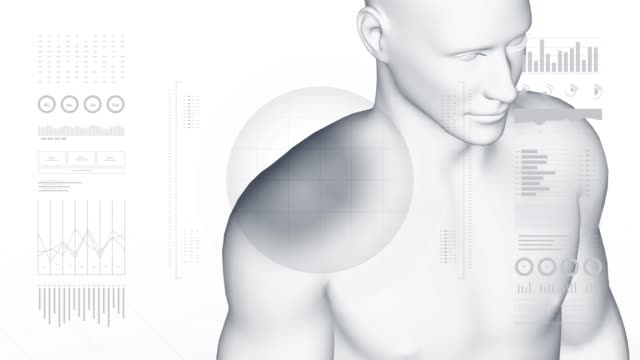 Man with shoulder pathology. 3d body of boy. Rotating animation and closeup of male human structure. 4k footage.