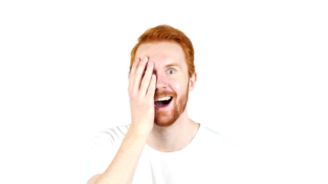 Man with wow face , red hair , success , video
