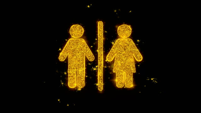 Man Woman Male Female Icon Sparks Particles on Black Background.