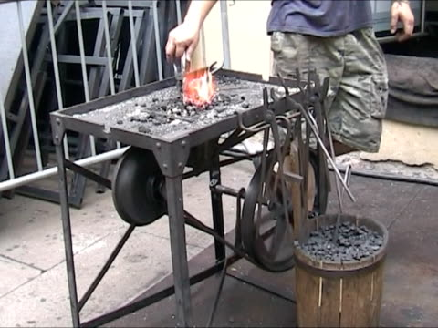 Man working blacksmith outdoor Traditional metal working anvil stock videos & royalty-free footage