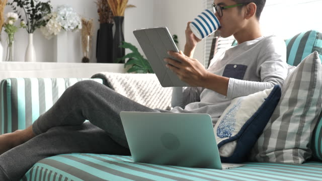 ノート パソコンとデジタル タブレットでソファで自宅から作業する人 - 日本文化点の映像素材/bロール