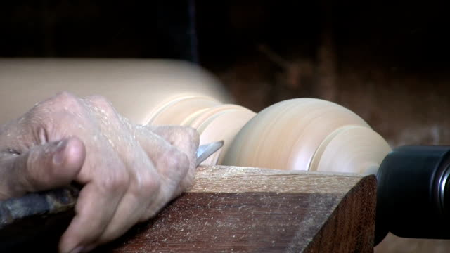 Man Working On A Lathe - Close Up video