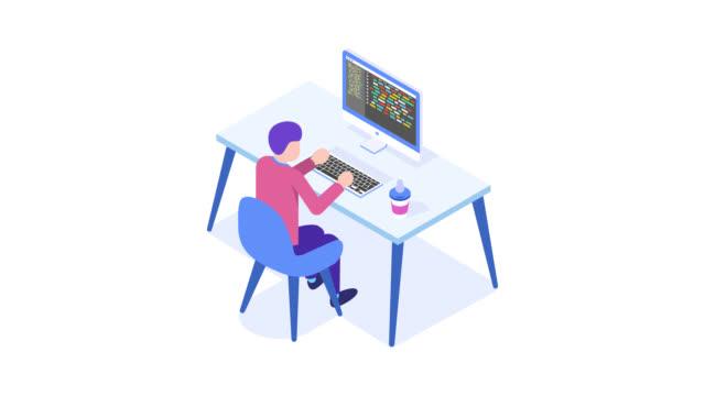 stockvideo's en b-roll-footage met man werkt op desktopcomputer - isometric