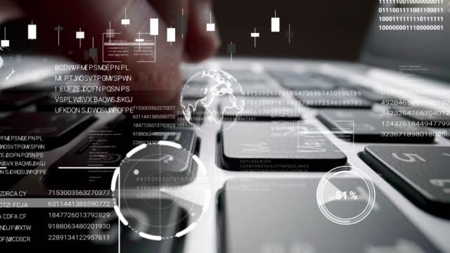 man som arbetar på bärbar dator tangentbord med grafiskt användargränssnitt gui hologram - accounting bildbanksvideor och videomaterial från bakom kulisserna