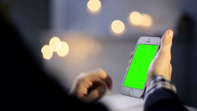 Man Working with Green Screen Smartphone video