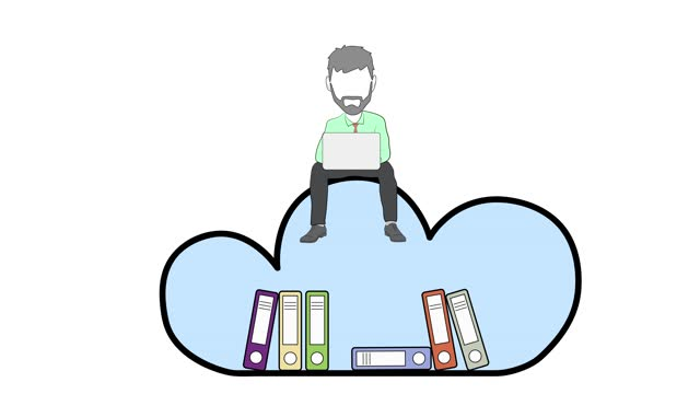 man works on a cloud of data. video illustration.