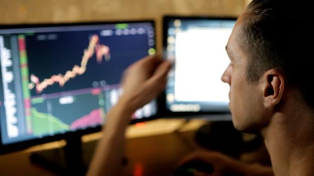 Mann arbeitet auf den Finanzmarkt auf Computer – Video