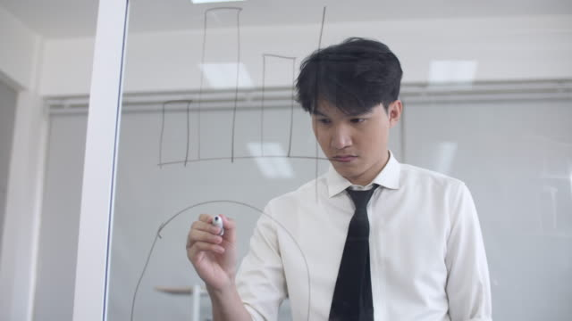 Man Writing Charts and Graph on Glass Board
