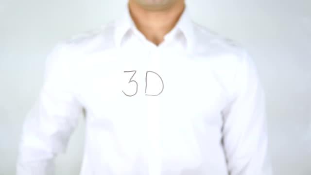 3D, Man Writing on Glass video