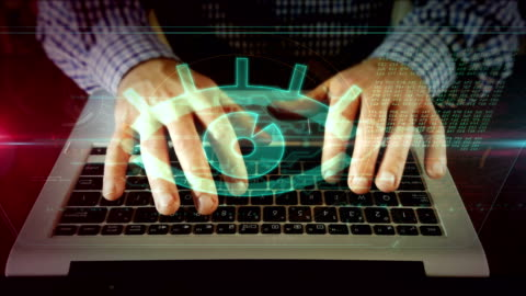 Man writing on laptop keyboard with spy eye Hands typing on laptop keyboard with watching eye on hologram screen. Concept of spy cam, cyber espionage, digital surveillance, spying, hacking, keylogger and threats in the internet. identity stock videos & royalty-free footage